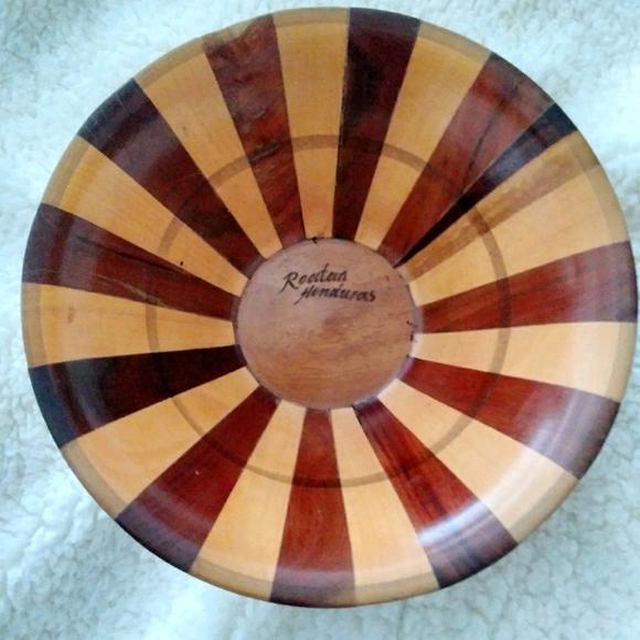 Vintage Handmade Two Tone Wood Bowl